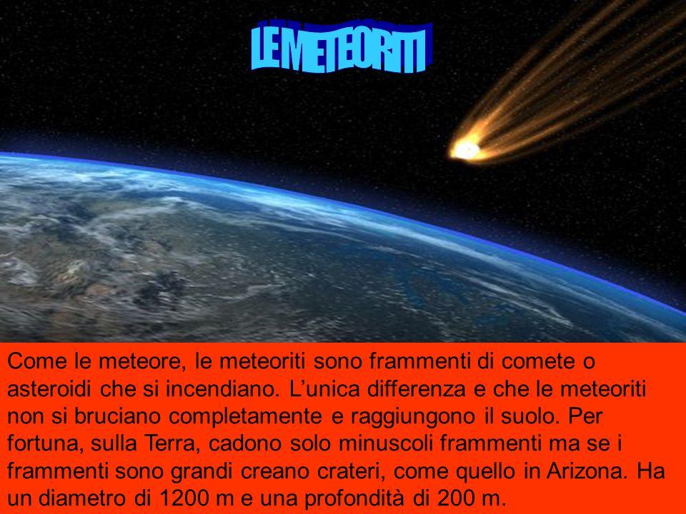 Come le meteore, le meteoriti sono frammenti di comete o asteroidi che si incendiano.