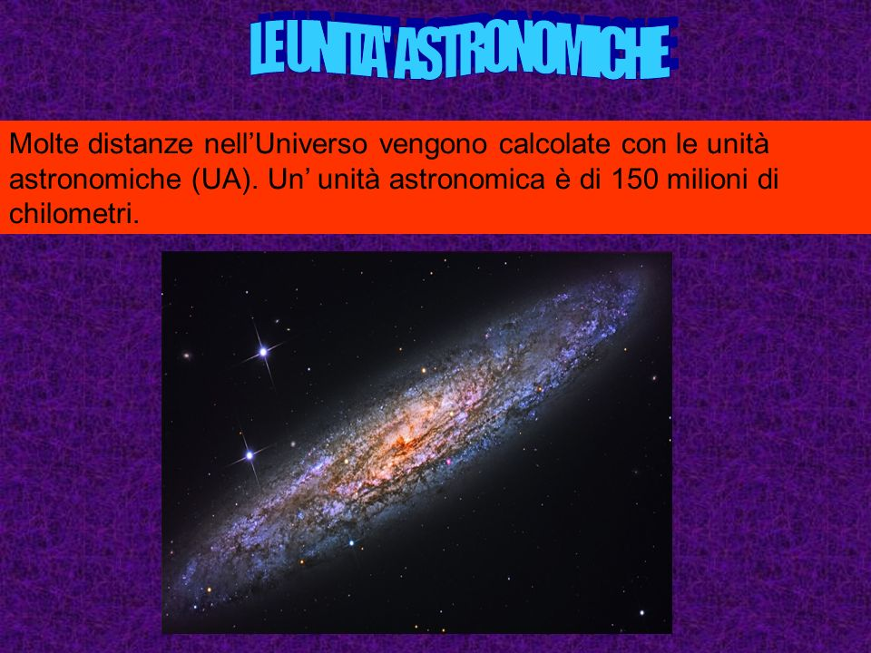 Molte distanze nellUniverso vengono calcolate con le unità astronomiche (UA).