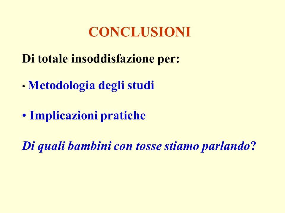 CONCLUSIONI Di totale insoddisfazione per: Metodologia degli studi Implicazioni pratiche Di quali bambini con tosse stiamo parlando?