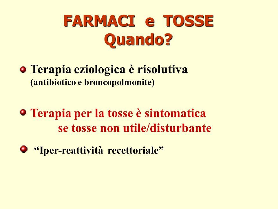 FARMACI e TOSSE Quando? Terapia eziologica è risolutiva (antibiotico e broncopolmonite) Terapia per la tosse è sintomatica se tosse non utile/disturba