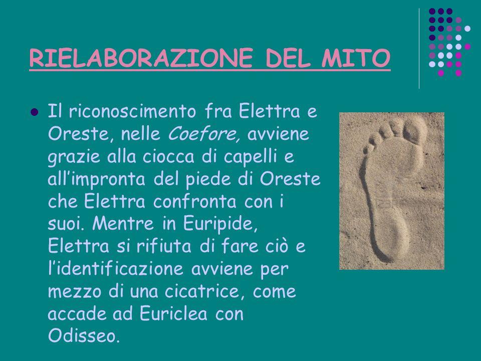 RIELABORAZIONE DEL MITO Il riconoscimento fra Elettra e Oreste, nelle Coefore, avviene grazie alla ciocca di capelli e allimpronta del piede di Oreste