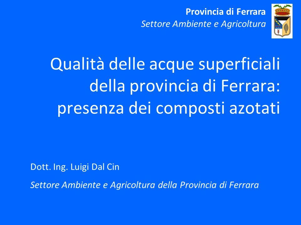 Qualità delle acque superficiali della provincia di Ferrara: presenza dei composti azotati Dott.