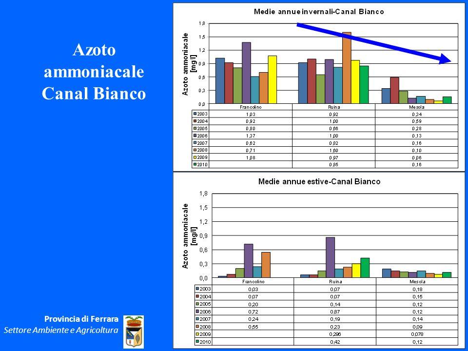 Azoto ammoniacale Canal Bianco Provincia di Ferrara Settore Ambiente e Agricoltura