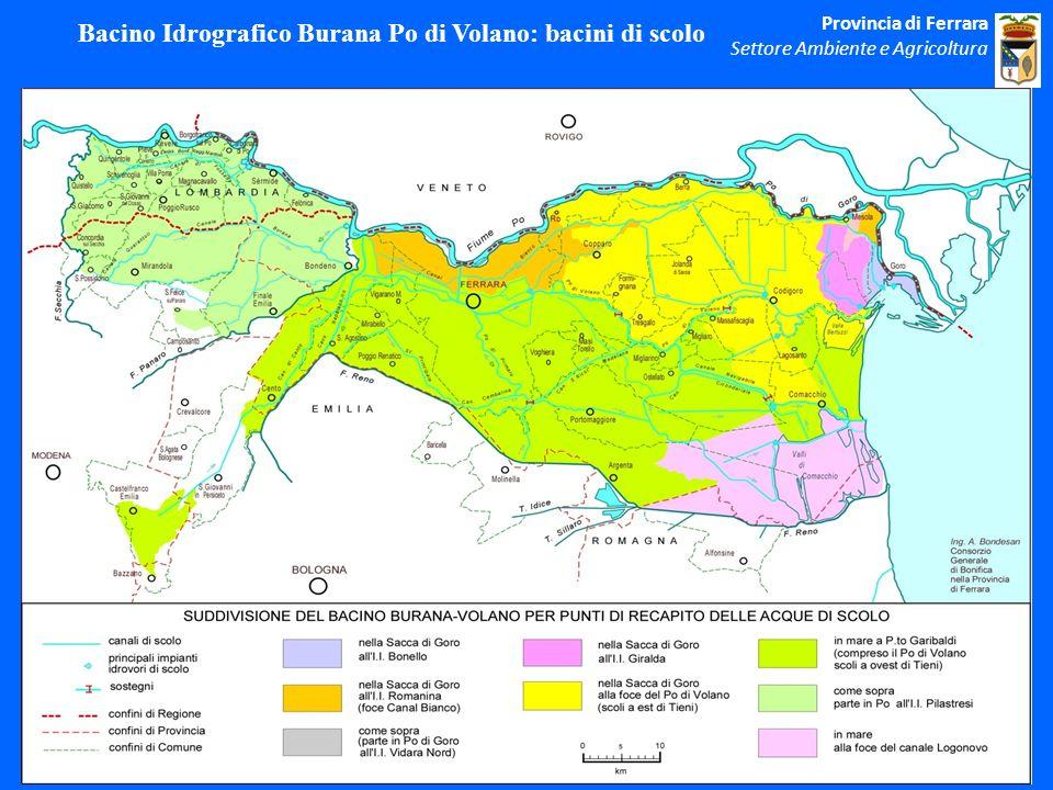 Bacino Idrografico Burana Po di Volano: bacini di scolo Provincia di Ferrara Settore Ambiente e Agricoltura