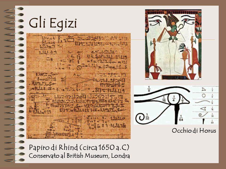 Gli Egizi Occhio di Horus Papiro di Rhind (circa 1650 a.C) Conservato al British Museum, Londra