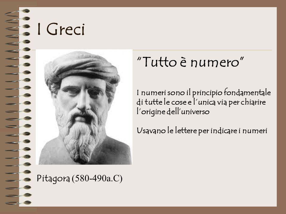 I Greci Pitagora (580-490a.C) Tutto è numero I numeri sono il principio fondamentale di tutte le cose e lunica via per chiarire lorigine delluniverso