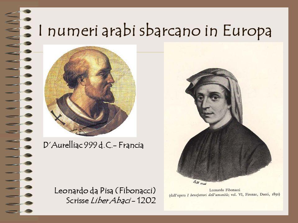 I numeri arabi sbarcano in Europa DAurelliac 999 d.C.- Francia Leonardo da Pisa (Fibonacci) Scrisse Liber Abaci - 1202