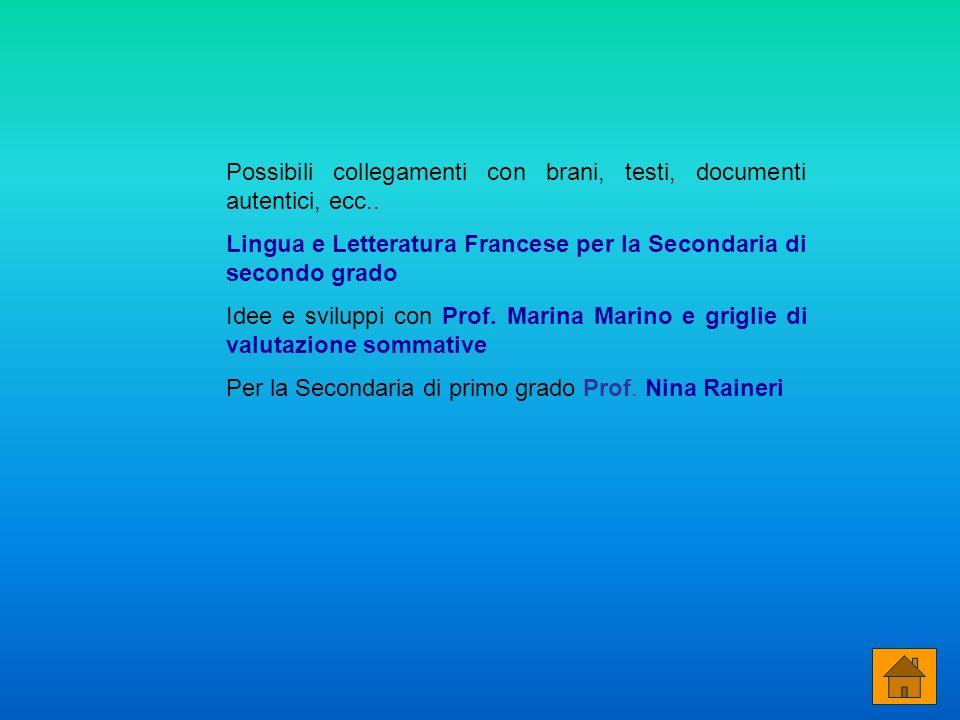 Possibili collegamenti con brani, testi, documenti autentici, ecc.. Lingua e Letteratura Francese per la Secondaria di secondo grado Idee e sviluppi c