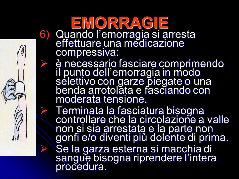 EMORRAGIE 6)Quando lemorragia si arresta effettuare una medicazione compressiva: è necessario fasciare comprimendo il punto dellemorragia in modo sele