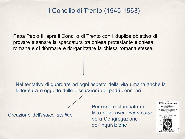 Il Concilio di Trento (1545-1563) Papa Paolo III apre il Concilio di Trento con il duplice obiettivo di provare a sanare la spaccatura tra chiesa prot