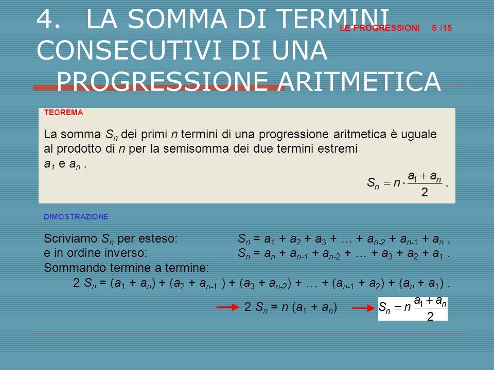5.LE PROGRESSIONI GEOMETRICHE LE PROGRESSIONI /15 6 DEFINIZIONE Una successione numerica si dice progressione geometrica quando il quoziente fra ogni termine e il suo precedente è costante; tale rapporto si dice ragione.