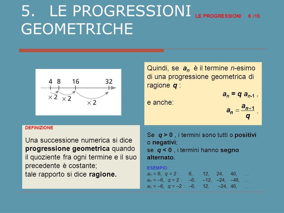 6.IL CALCOLO DEL TERMINE a n DI UNA PROGRESSIONE GEOMETRICA LE PROGRESSIONI /15 7 ESEMPIO La progressione geometrica di ragione 3 originata da a 1 = 2 è: TEOREMA In una progressione geometrica, il termine a n è uguale alla prodotto del primo termine a 1 per la potenza della ragione q con esponente (n – 1) : a n = a 1 q (n – 1), con n > 0.