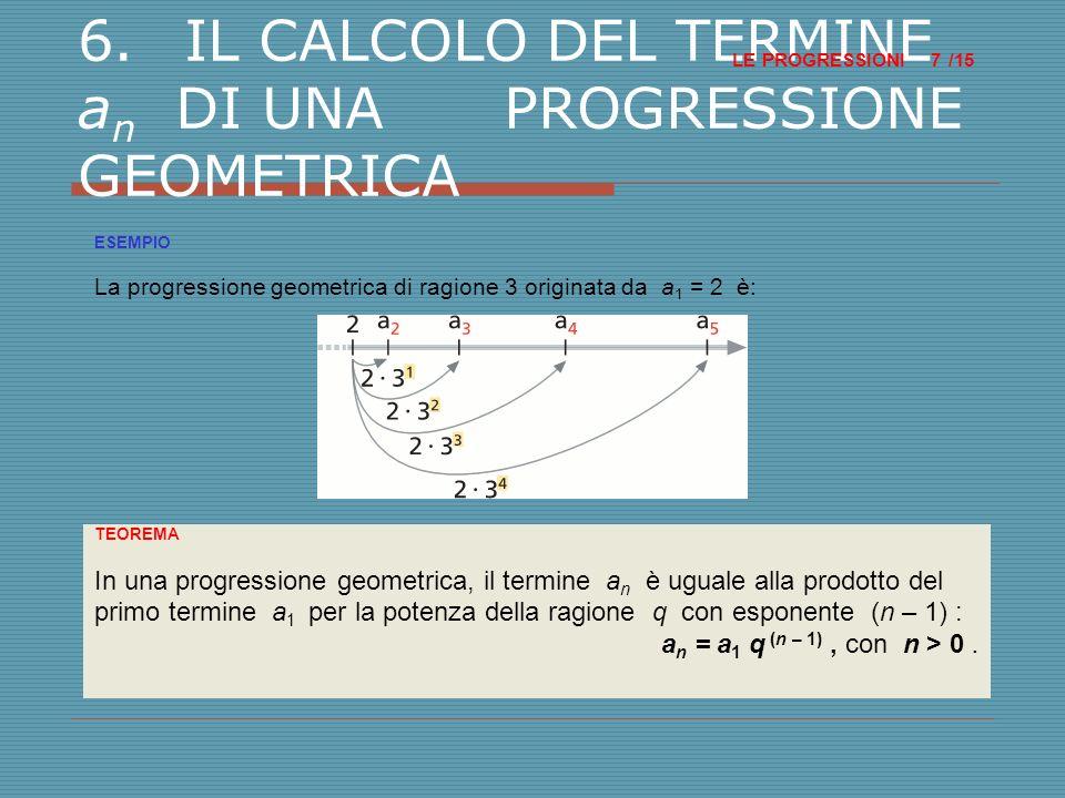 6.IL CALCOLO DEL TERMINE a n DI UNA PROGRESSIONE GEOMETRICA LE PROGRESSIONI /15 7 ESEMPIO La progressione geometrica di ragione 3 originata da a 1 = 2