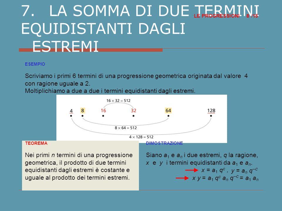 8.LA SOMMA DI TERMINI CONSECUTIVI DI UNA PROGRESSIONE GEOMETRICA LE PROGRESSIONI /15 9 TEOREMA La somma S n dei primi n termini di una progressione geometrica di ragione q diversa da 1 è: DIMOSTRAZIONE Scriviamo S n per esteso: S n = a 1 + a 2 + a 3 + … + a n.