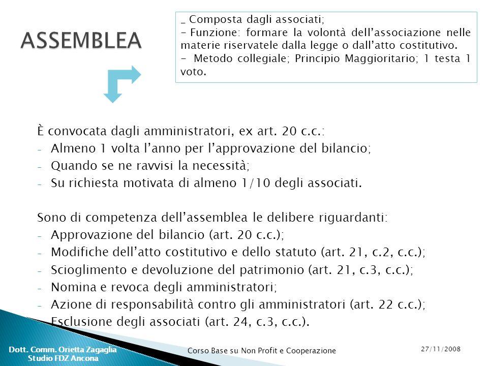 Corso Base su Non Profit e Cooperazione 27/11/2008 Dott. Comm. Orietta Zagaglia Studio FDZ Ancona È convocata dagli amministratori, ex art. 20 c.c.: -