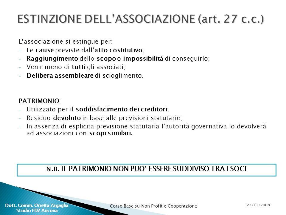 Corso Base su Non Profit e Cooperazione 27/11/2008 Dott. Comm. Orietta Zagaglia Studio FDZ Ancona ESTINZIONE DELLASSOCIAZIONE (art. 27 c.c.) Lassociaz