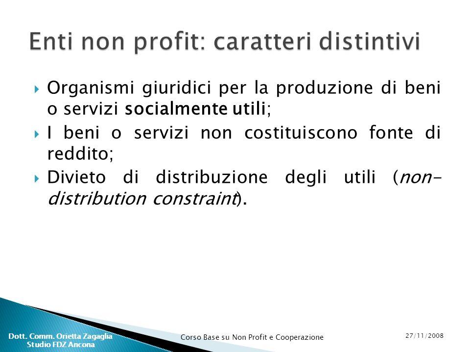 Corso Base su Non Profit e Cooperazione 27/11/2008 Dott. Comm. Orietta Zagaglia Studio FDZ Ancona Organismi giuridici per la produzione di beni o serv
