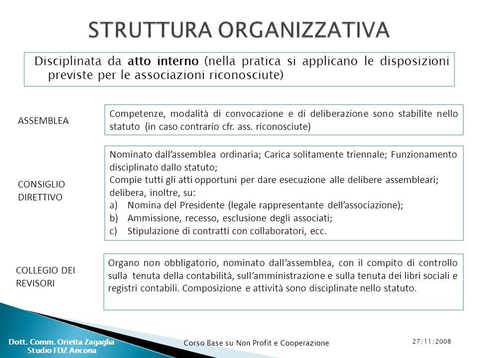 Corso Base su Non Profit e Cooperazione 27/11/2008 Dott. Comm. Orietta Zagaglia Studio FDZ Ancona Disciplinata da atto interno (nella pratica si appli