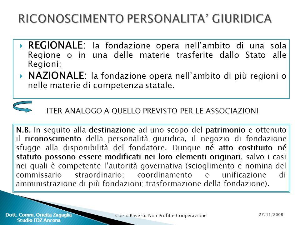 Corso Base su Non Profit e Cooperazione 27/11/2008 Dott. Comm. Orietta Zagaglia Studio FDZ Ancona REGIONALE: la fondazione opera nellambito di una sol