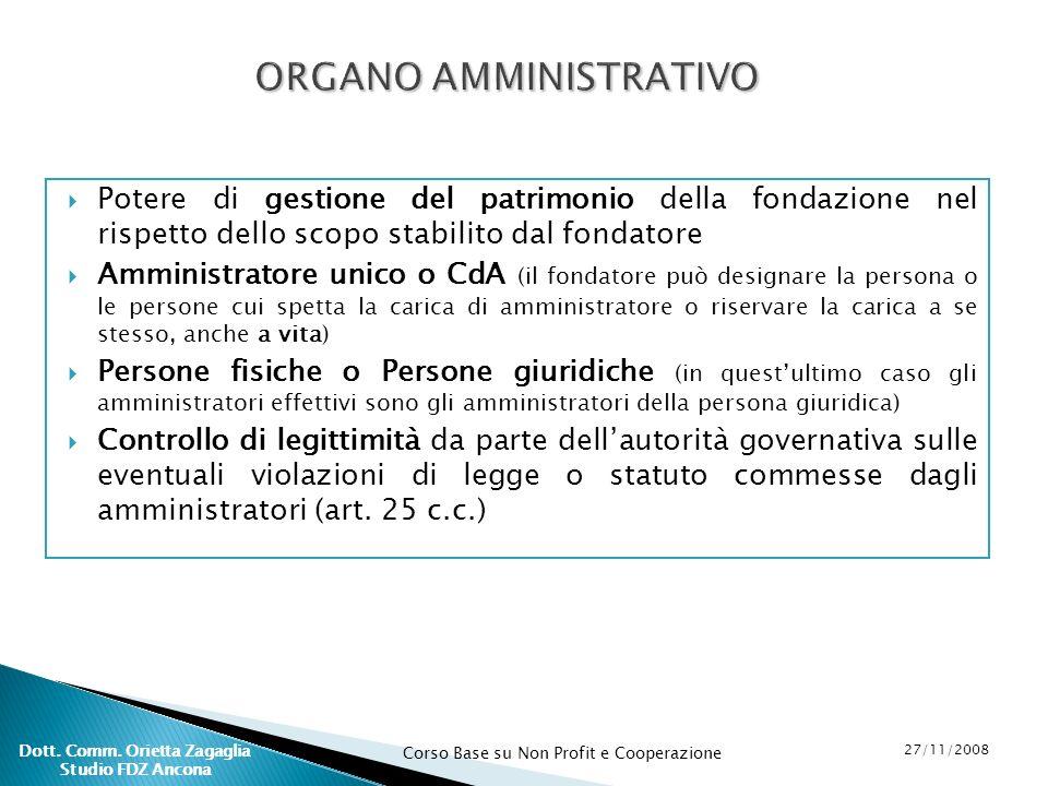 Corso Base su Non Profit e Cooperazione 27/11/2008 Dott. Comm. Orietta Zagaglia Studio FDZ Ancona Potere di gestione del patrimonio della fondazione n