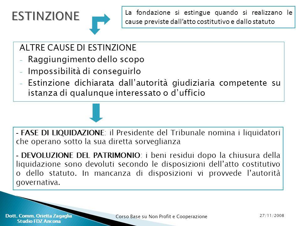 Corso Base su Non Profit e Cooperazione 27/11/2008 Dott. Comm. Orietta Zagaglia Studio FDZ Ancona ALTRE CAUSE DI ESTINZIONE - Raggiungimento dello sco
