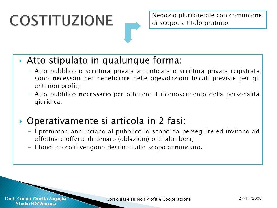 Corso Base su Non Profit e Cooperazione 27/11/2008 Dott. Comm. Orietta Zagaglia Studio FDZ Ancona Atto stipulato in qualunque forma: -Atto pubblico o