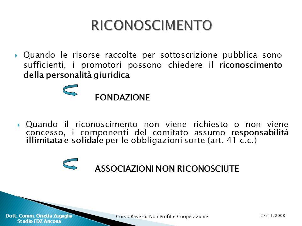 Corso Base su Non Profit e Cooperazione 27/11/2008 Dott. Comm. Orietta Zagaglia Studio FDZ Ancona Quando le risorse raccolte per sottoscrizione pubbli