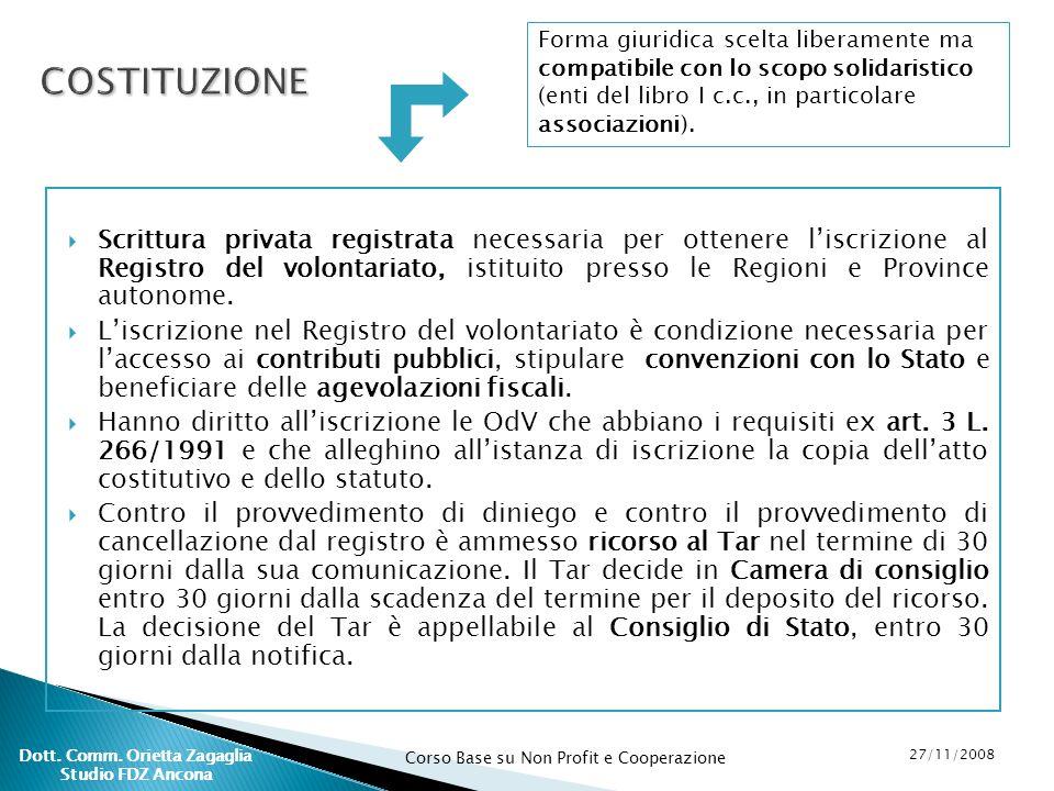 Corso Base su Non Profit e Cooperazione 27/11/2008 Dott. Comm. Orietta Zagaglia Studio FDZ Ancona Forma giuridica scelta liberamente ma compatibile co