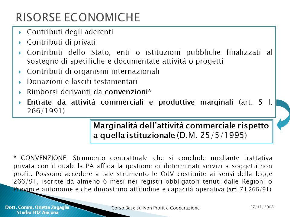Corso Base su Non Profit e Cooperazione 27/11/2008 Dott. Comm. Orietta Zagaglia Studio FDZ Ancona Contributi degli aderenti Contributi di privati Cont