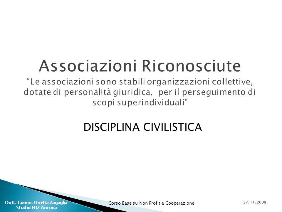 Corso Base su Non Profit e Cooperazione 27/11/2008 Dott. Comm. Orietta Zagaglia Studio FDZ Ancona Associazioni Riconosciute Le associazioni sono stabi
