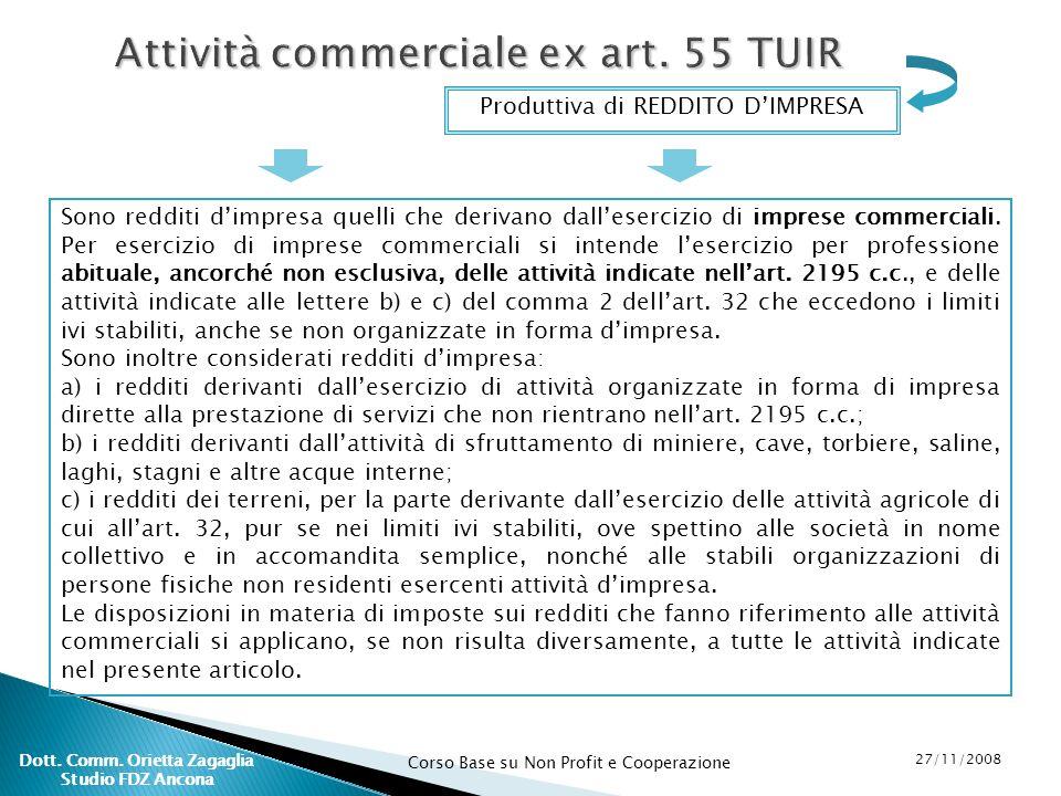 Corso Base su Non Profit e Cooperazione 27/11/2008 Dott. Comm. Orietta Zagaglia Studio FDZ Ancona Attività commerciale ex art. 55 TUIR Produttiva di R