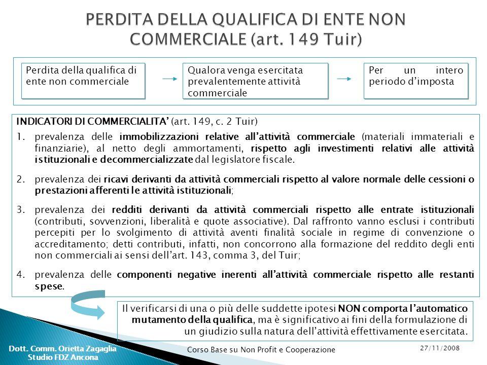 Corso Base su Non Profit e Cooperazione 27/11/2008 Dott. Comm. Orietta Zagaglia Studio FDZ Ancona PERDITA DELLA QUALIFICA DI ENTE NON COMMERCIALE (art