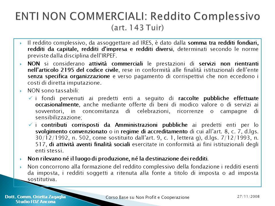 Corso Base su Non Profit e Cooperazione 27/11/2008 Dott. Comm. Orietta Zagaglia Studio FDZ Ancona Il reddito complessivo, da assoggettare ad IRES, è d