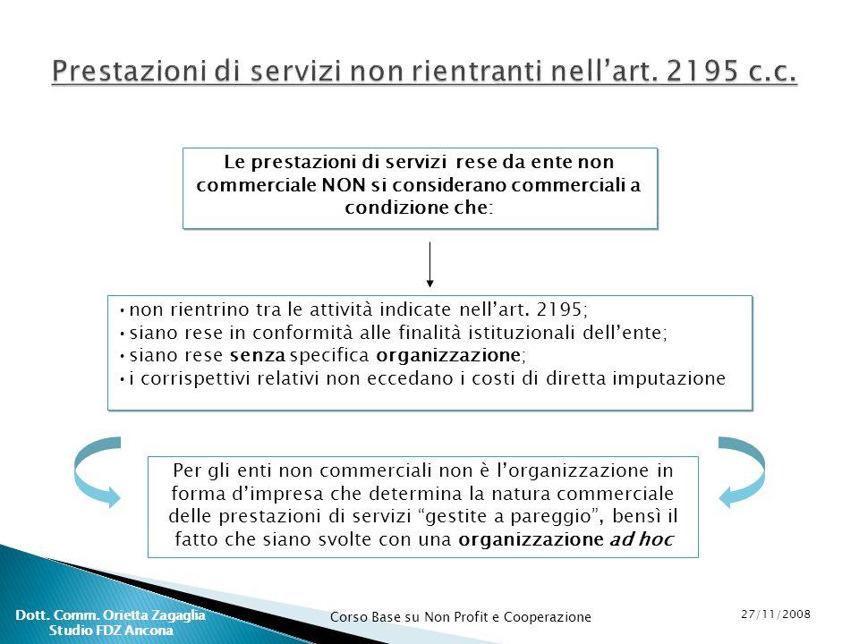 Corso Base su Non Profit e Cooperazione 27/11/2008 Dott. Comm. Orietta Zagaglia Studio FDZ Ancona Le prestazioni di servizi rese da ente non commercia