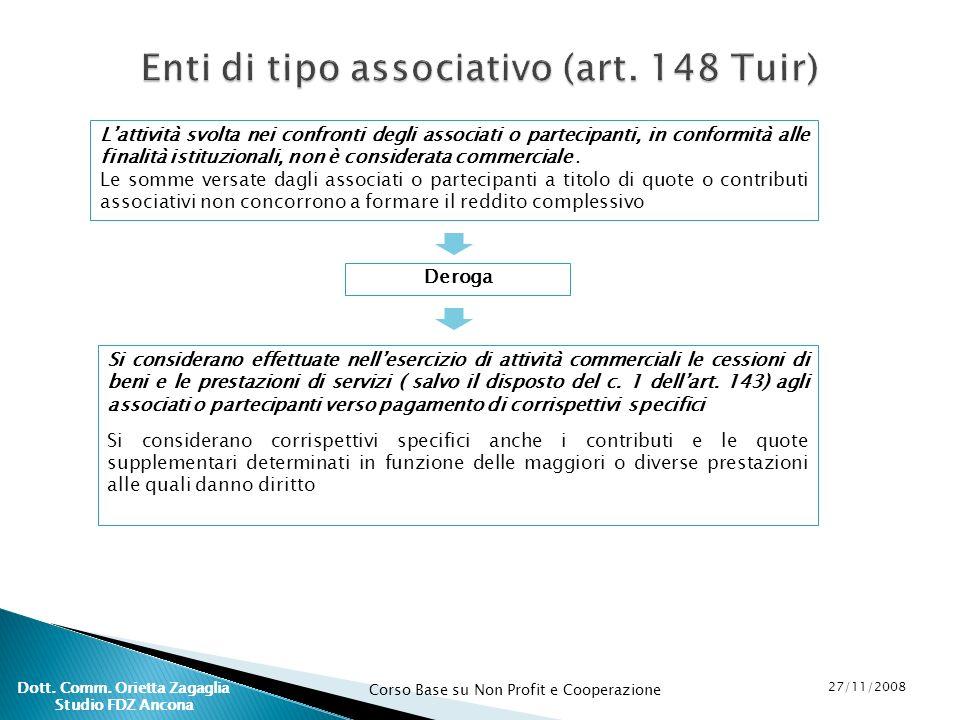Corso Base su Non Profit e Cooperazione 27/11/2008 Dott. Comm. Orietta Zagaglia Studio FDZ Ancona Enti di tipo associativo (art. 148 Tuir) Lattività s