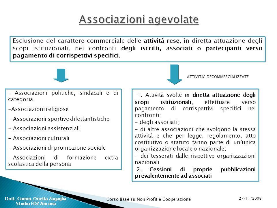 Corso Base su Non Profit e Cooperazione 27/11/2008 Dott. Comm. Orietta Zagaglia Studio FDZ Ancona Associazioni agevolate Esclusione del carattere comm