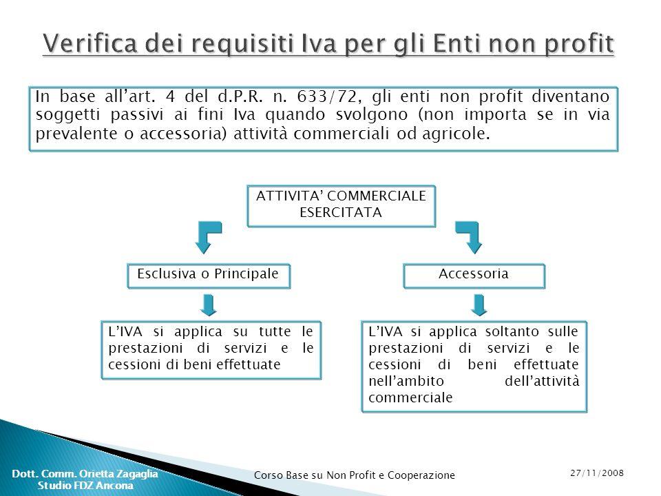 Corso Base su Non Profit e Cooperazione 27/11/2008 Dott. Comm. Orietta Zagaglia Studio FDZ Ancona In base allart. 4 del d.P.R. n. 633/72, gli enti non
