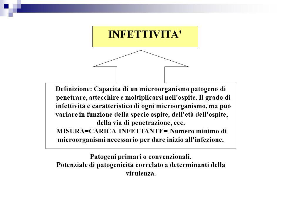 INFETTIVITA' Definizione: Capacità di un microorganismo patogeno di penetrare, attecchire e moltiplicarsi nell'ospite. Il grado di infettività è carat