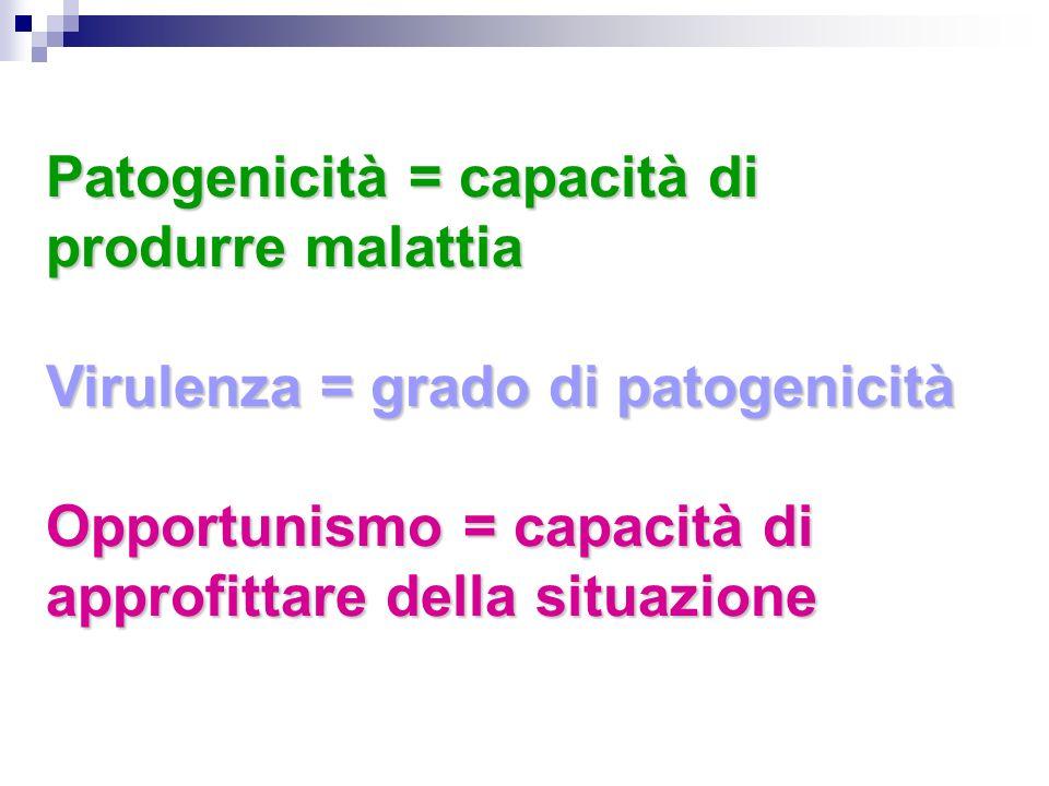 Patogenicità = capacità di produrre malattia Virulenza = grado di patogenicità Opportunismo = capacità di approfittare della situazione