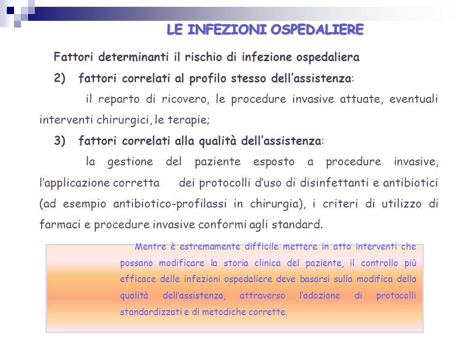 Fattori determinanti il rischio di infezione ospedaliera 2) fattori correlati al profilo stesso dellassistenza: il reparto di ricovero, le procedure i