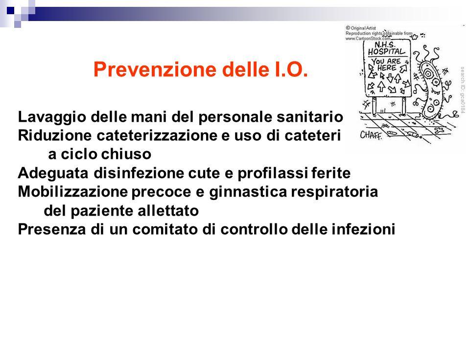 Prevenzione delle I.O. Lavaggio delle mani del personale sanitario Riduzione cateterizzazione e uso di cateteri a a ciclo chiuso Adeguata disinfezione