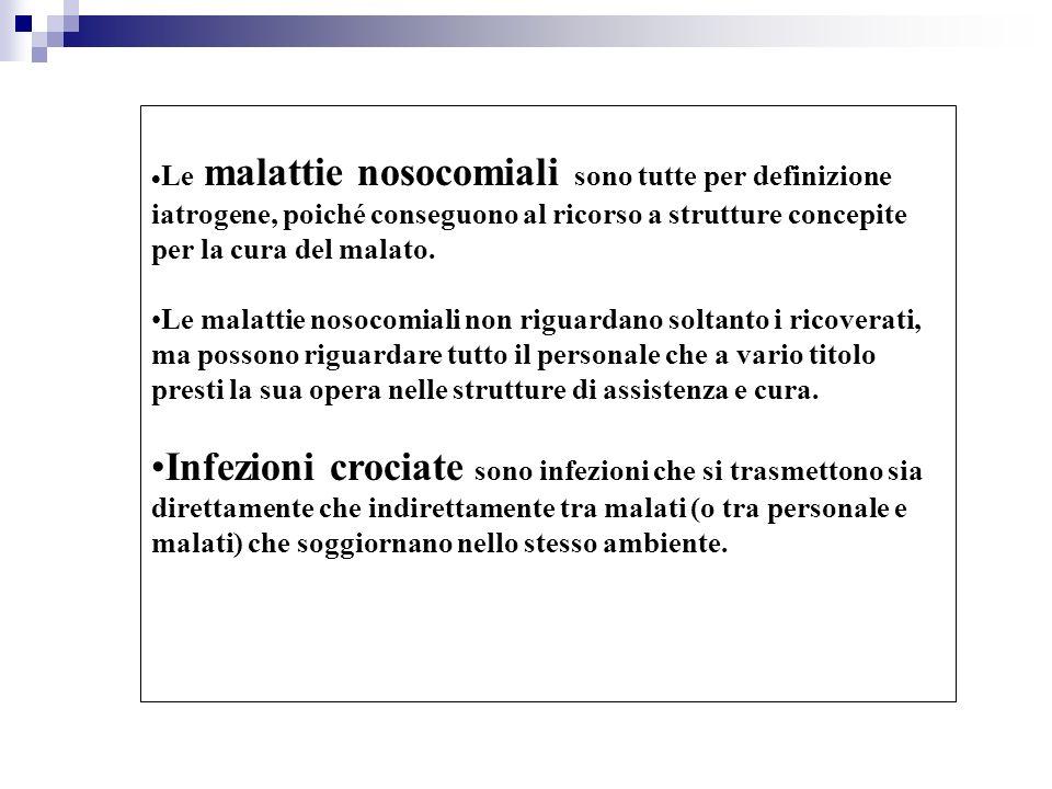 Le malattie nosocomiali sono tutte per definizione iatrogene, poiché conseguono al ricorso a strutture concepite per la cura del malato. Le malattie n