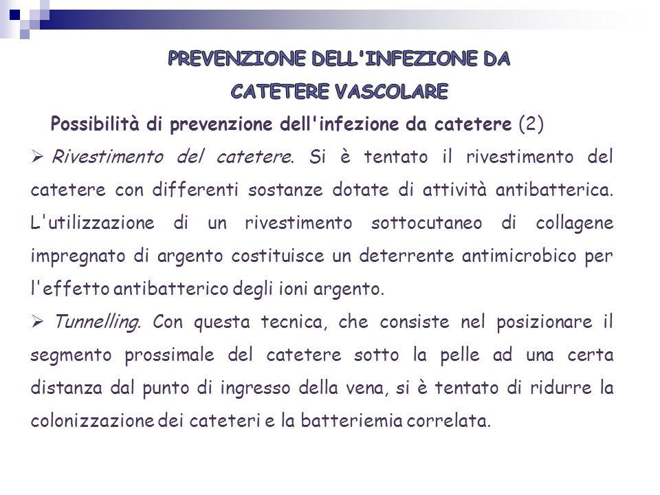 Possibilità di prevenzione dell'infezione da catetere (2) Rivestimento del catetere. Si è tentato il rivestimento del catetere con differenti sostanze