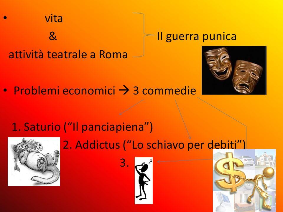 vita & II guerra punica attività teatrale a Roma Problemi economici 3 commedie 1. Saturio ( Il panciapiena ) 2. Addictus ( Lo schiavo per debiti ) 3.