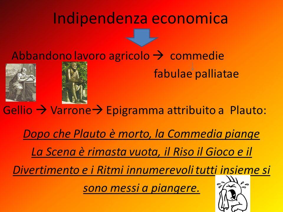Indipendenza economica Abbandono lavoro agricolo commedie fabulae palliatae Gellio Varrone Epigramma attribuito a Plauto: Dopo che Plauto è morto, la