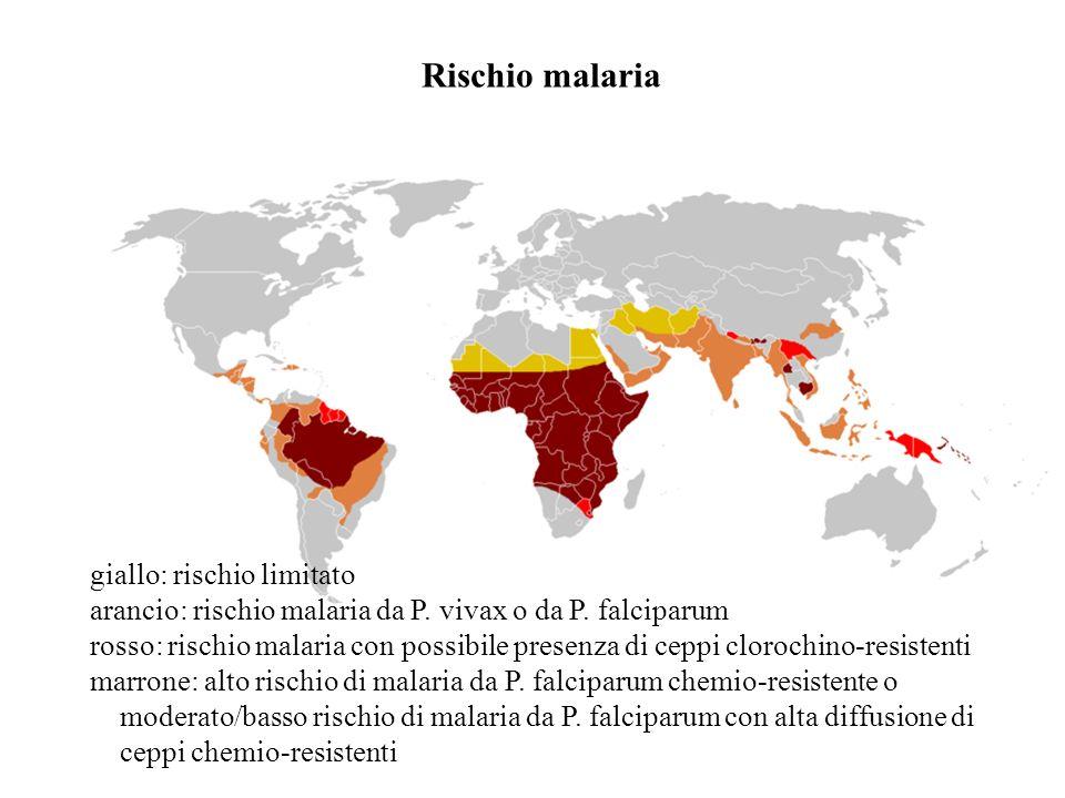giallo: rischio limitato arancio: rischio malaria da P. vivax o da P. falciparum rosso: rischio malaria con possibile presenza di ceppi clorochino-res