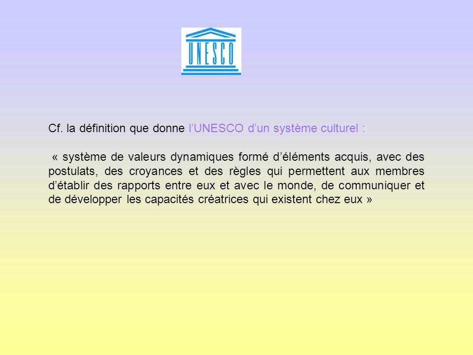 Cf. la définition que donne lUNESCO dun système culturel : « système de valeurs dynamiques formé déléments acquis, avec des postulats, des croyances e