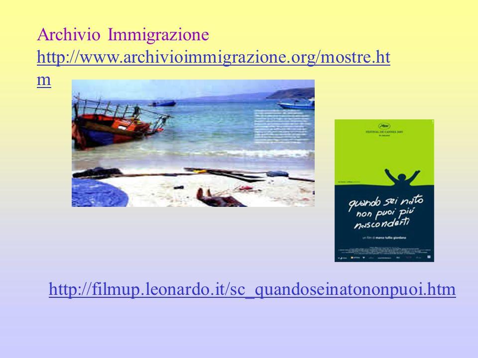 Archivio Immigrazione http://www.archivioimmigrazione.org/mostre.ht m http://filmup.leonardo.it/sc_quandoseinatononpuoi.htm