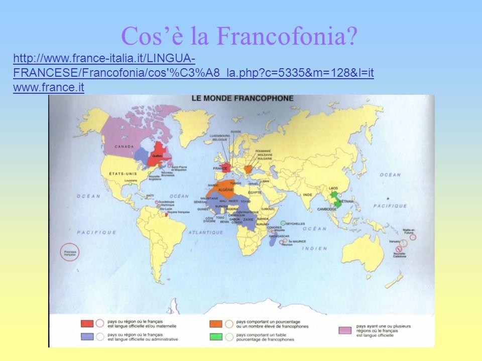 Cosè la Francofonia? http://www.france-italia.it/LINGUA- FRANCESE/Francofonia/cos'%C3%A8_la.php?c=5335&m=128&l=it www.france.it