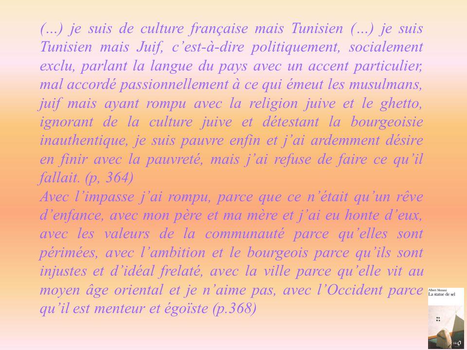 (…) je suis de culture française mais Tunisien (…) je suis Tunisien mais Juif, cest-à-dire politiquement, socialement exclu, parlant la langue du pays